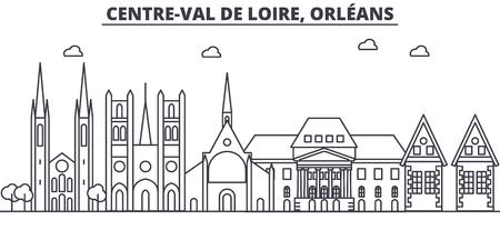 France, illustration de skyline ligne architecture Orléans. Paysage urbain vecteur linéaire avec des sites célèbres, des sites touristiques, des icônes du design. Paysage avec des traits modifiables Banque d'images - 87743540