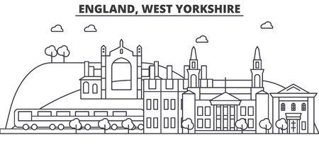 England, West Yorkshire architecture line skyline illustration. Linear vector cityscape with famous landmarks, city sights, design icons. Editable strokes Иллюстрация