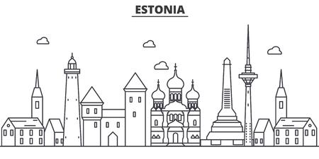 エストニア、タリン建築線スカイラインの図。有名なランドマーク、観光、デザイン アイコンと線形ベクトル街並み。編集可能なストローク  イラスト・ベクター素材