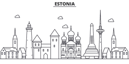 Estonia, Talinn architecture line skyline illustration. Linear vector cityscape with famous landmarks, city sights, design icons. Editable strokes 向量圖像