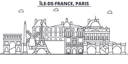 De illustratie van de de lijnhorizon van Frankrijk, Parijs. Lineaire vector stadsgezicht met beroemde bezienswaardigheden, bezienswaardigheden van de stad, pictogrammen van het ontwerp. Bewerkbare lijnen