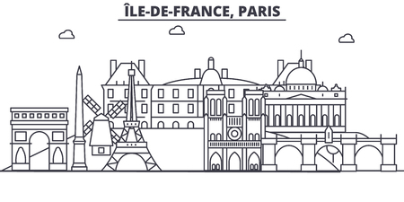 France, Paris architecture line skyline illustration. Linear vector cityscape with famous landmarks, city sights, design icons. Editable strokes