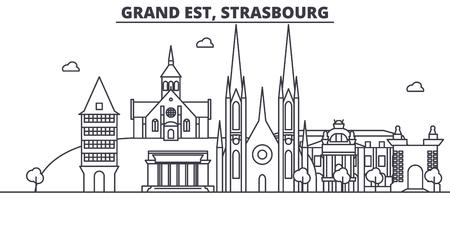 フランス、ストラスブール建築線スカイラインの図。有名なランドマーク、観光、デザイン アイコンと線形ベクトル街並み。編集可能なストローク