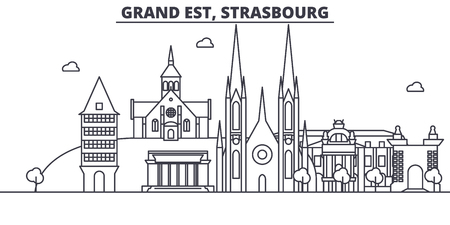 France, Strasbourg architecture line skyline illustration. Linear vector cityscape with famous landmarks, city sights, design icons. Editable strokes 向量圖像