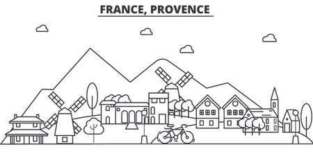 France, Provence architecture ligne skyline illustration. Paysage urbain vecteur linéaire avec des sites célèbres, des sites touristiques, des icônes du design. Coups modifiables Banque d'images - 87743545