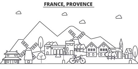 France, Provence architecture line skyline illustration. Linear vector cityscape with famous landmarks, city sights, design icons. Editable strokes Ilustracja