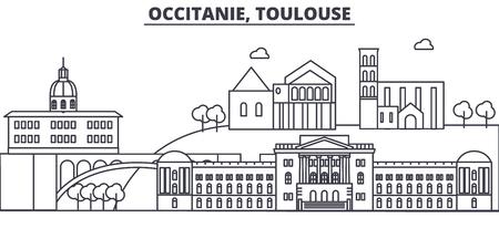 De illustratie van de de lijnhorizon van Frankrijk, Toulouse. Lineaire vector stadsgezicht met beroemde bezienswaardigheden, bezienswaardigheden van de stad, ontwerp pictogrammen. Bewerkbare lijnen