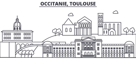 France, Toulouse architecture line skyline illustration. Linear vector cityscape with famous landmarks, city sights, design icons. Editable strokes