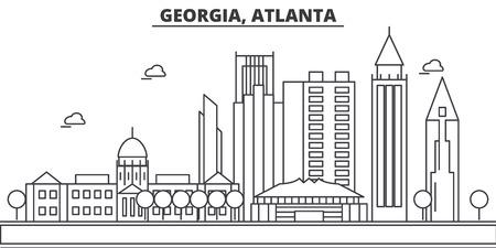 ジョージア州アトランタの建築線のスカイラインの図。有名なランドマーク、観光、デザイン アイコンと線形ベクトル街並み。編集可能なストロー