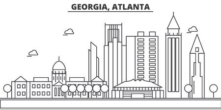 Georgia, Atlanta architecture line skyline illustration. Linear vector cityscape with famous landmarks, city sights, design icons. Editable strokes