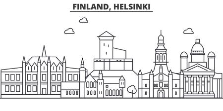 フィンランド、ヘルシンキの建築線のスカイラインの図。有名なランドマーク、観光、デザイン アイコンと線形ベクトル街並み。編集可能なストロ