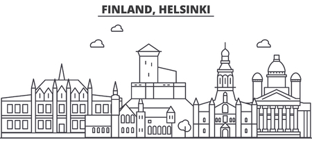 Finland, Helsinki architecture line skyline illustration. Linear vector cityscape with famous landmarks, city sights, design icons. Editable strokes