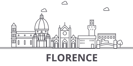 Florence architecture line skyline illustration. Linear vector cityscape with famous landmarks, city sights, design icons. Editable strokes Vettoriali