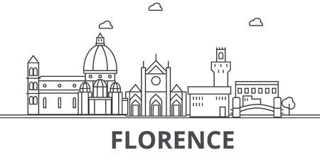 Linha ilustração da arquitetura da skyline de Florença. Arquitectura da cidade linear do vetor com marcos famosos, vistas da cidade, ícones do projeto. Traços editáveis