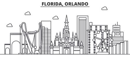 フロリダ州オーランド建築線スカイラインの図。有名なランドマーク、観光、デザイン アイコンと線形ベクトル街並み。編集可能なストローク  イラスト・ベクター素材