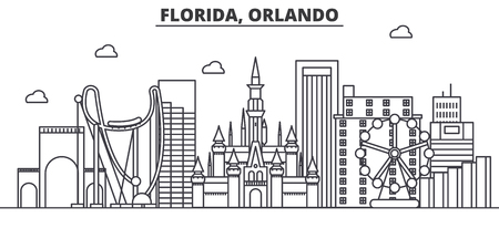 Florida Orlando architecture line skyline illustration. Linear vector cityscape with famous landmarks, city sights, design icons. Editable strokes Illustration