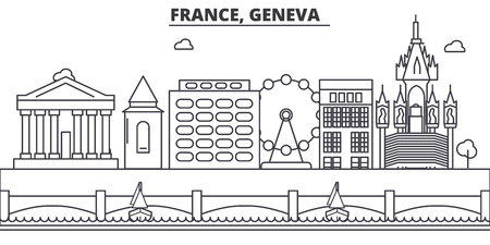 France, Geneva architecture line skyline illustration. Linear vector cityscape with famous landmarks, city sights, design icons. Editable strokes