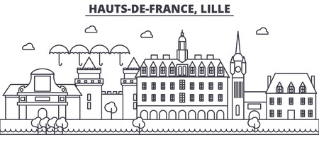 フランス、リール建築線スカイラインの図。有名なランドマーク、観光、デザイン アイコンと線形ベクトル街並み。編集可能なストローク