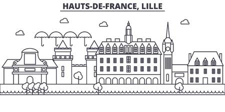 Francja, ilustracja panoramę linii architektury Lille. Liniowy wektor gród ze słynnymi zabytkami, zabytkami miasta, ikonami projektu. Edytowalne obrysy