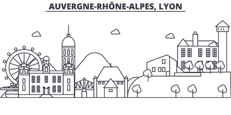 France, Lyon architecture line skyline illustration. Linear vector cityscape with famous landmarks, city sights, design icons. Editable strokes Illustration