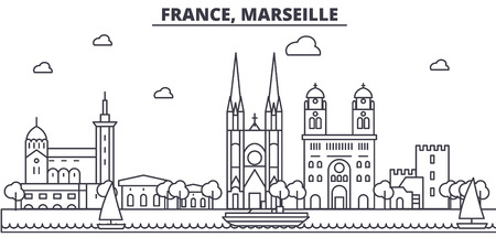 フランス、マルセイユの建築線のスカイラインの図。有名なランドマーク、観光、デザイン アイコンと線形ベクトル街並み。編集可能なストローク