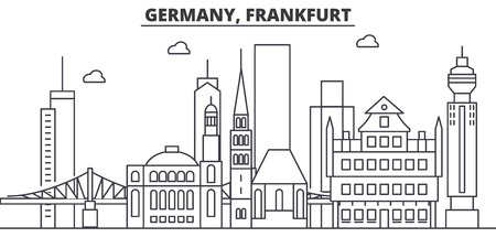 ドイツ、フランクフルトの建築線スカイラインの図。有名なランドマーク、観光、デザイン アイコンと線形ベクトル街並み。編集可能なストローク
