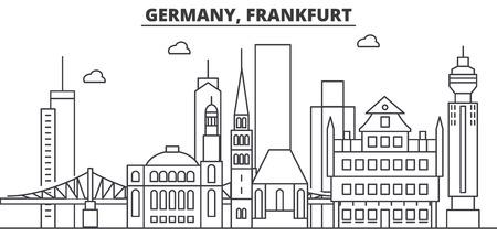 독일, 프랑크푸르트 아키텍처 라인 스카이 라인 그림입니다. 선형 벡터 도시의 유명한 랜드 마크, 도시 명소, 디자인 아이콘. 편집 가능한 스트로크