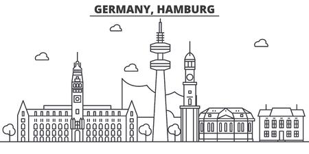 ドイツ、ハンブルク建築線スカイラインの図。有名なランドマーク、観光、デザイン アイコンと線形ベクトル街並み。編集可能なストローク