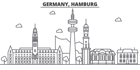 Illustratie van de de lijnhorizon van Duitsland, Hamburg-de architectuur. Lineaire vector stadsgezicht met beroemde bezienswaardigheden, bezienswaardigheden van de stad, pictogrammen van het ontwerp. Bewerkbare lijnen