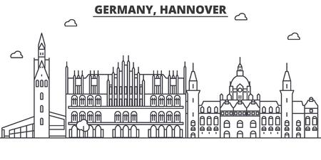 Duitsland, Hannover de horizonillustratie van de architectuurlijn. Lineaire vector stadsgezicht met beroemde bezienswaardigheden, bezienswaardigheden van de stad, ontwerp pictogrammen. Bewerkbare lijnen