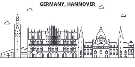 Germany, Hannover architecture line skyline illustration. Linear vector cityscape with famous landmarks, city sights, design icons. Editable strokes 向量圖像