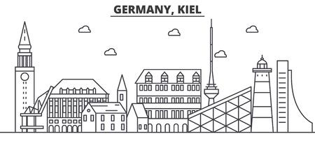 ドイツ、キール建築線スカイラインの図。有名なランドマーク、観光、デザイン アイコンと線形ベクトル街並み。編集可能なストローク  イラスト・ベクター素材