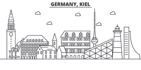 Germany, Kiel architecture line skyline illustration. Linear vector cityscape with famous landmarks, city sights, design icons. Editable strokes Çizim