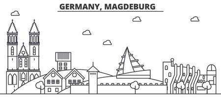 ドイツ、マクデブルク建築線スカイラインの図。有名なランドマーク、観光、デザイン アイコンと線形ベクトル街並み。編集可能なストローク