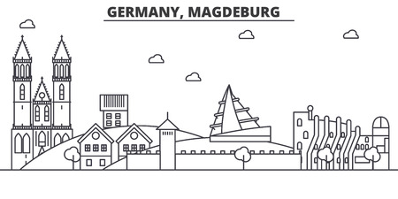 Germany, Magdeburg architecture line skyline illustration. Linear vector cityscape with famous landmarks, city sights, design icons. Editable strokes
