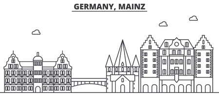 Germany, Mainz architecture line skyline illustration. Linear vector cityscape with famous landmarks, city sights, design icons. Editable strokes Ilustrace
