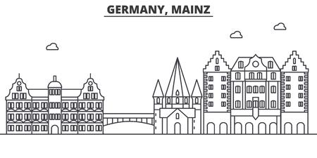 Germany, Mainz architecture line skyline illustration. Linear vector cityscape with famous landmarks, city sights, design icons. Editable strokes Çizim