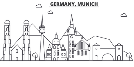 Germany, Munich architecture line skyline illustration. Linear vector cityscape with famous landmarks, city sights, design icons. Editable strokes Illustration