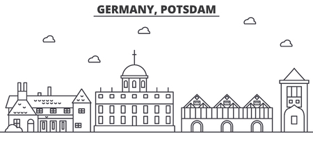 Germany, Potsdam architecture line skyline illustration. Linear vector cityscape with famous landmarks, city sights, design icons. Editable strokes Illustration