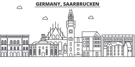 독일, Saarbrucken 아키텍처 라인 스카이 라인 그림입니다. 선형 벡터 도시의 유명한 랜드 마크, 도시 명소, 디자인 아이콘. 편집 가능한 스트로크