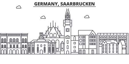Germany, Saarbrucken architecture line skyline illustration. Linear vector cityscape with famous landmarks, city sights, design icons. Editable strokes