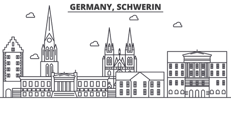 Germany, Schwerin architecture line skyline illustration. Linear vector cityscape with famous landmarks, city sights, design icons. Editable strokes