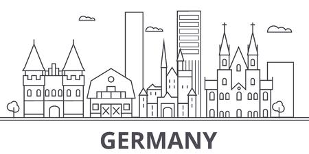 Deutschland-Architekturlinie Skylineillustration. Lineares Vektorstadtbild mit berühmten Sehenswürdigkeiten, Sehenswürdigkeiten der Stadt, Designikonen. Bearbeitbare Striche Vektorgrafik