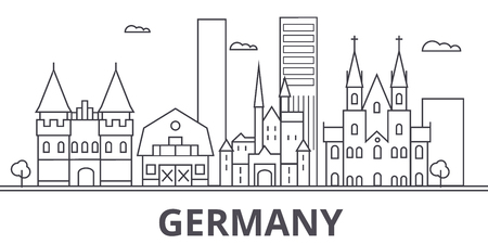 Germany architecture line skyline illustration. Linear vector cityscape with famous landmarks, city sights, design icons. Editable strokes Illustration