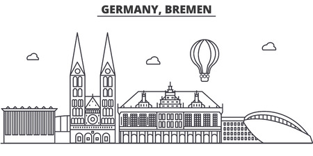 Germany, Bremen architecture line skyline illustration. Linear vector cityscape with famous landmarks, city sights, design icons. Editable strokes 向量圖像