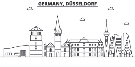 Germany, Dusseldorf architecture line skyline illustration. Linear vector cityscape with famous landmarks, city sights, design icons. Landscape wtih editable strokes