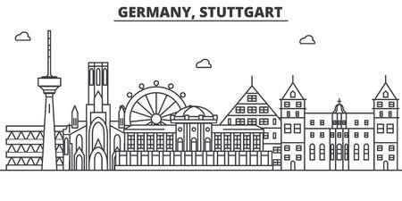 ドイツ、シュトゥットガルト建築線スカイラインの図。有名なランドマーク、観光、デザイン アイコンと線形ベクトル街並み。編集可能なストロー  イラスト・ベクター素材