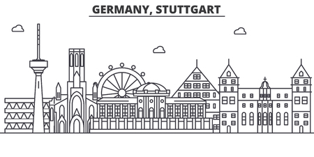 Germany, Stuttgart architecture line skyline illustration. Linear vector cityscape with famous landmarks, city sights, design icons. Editable strokes