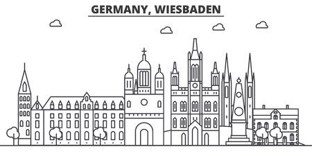 ドイツ、ヴィースバーデン建築線スカイラインの図。有名なランドマーク、観光、デザイン アイコンと線形ベクトル街並み。編集可能なストローク