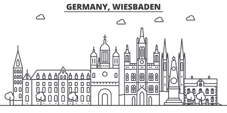 Germany, Wiesbaden architecture line skyline illustration. Linear vector cityscape with famous landmarks, city sights, design icons. Editable strokes Ilustração